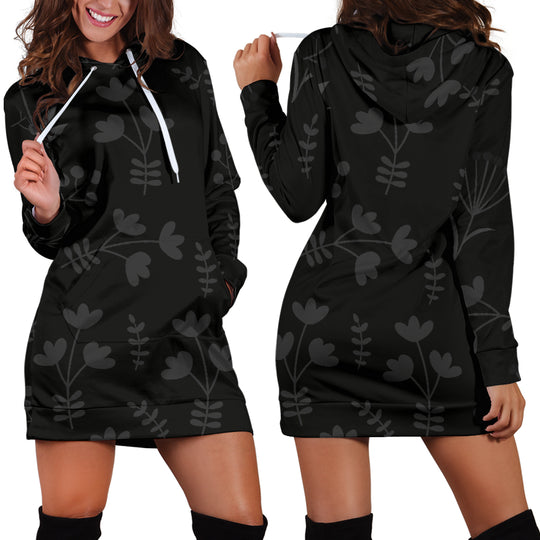Charcoal Floral Hoodie Dress