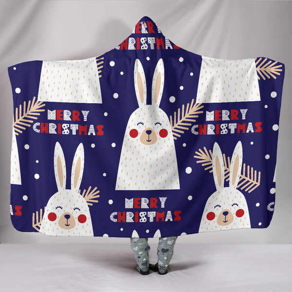 Merry Christmas Bunny Hooded Blanket