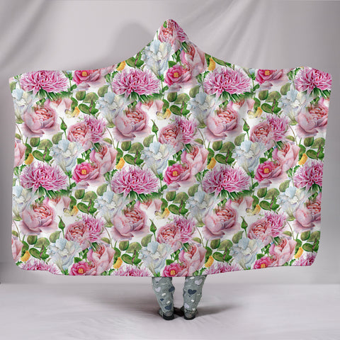 Watercolor Floral Hooded Blanket
