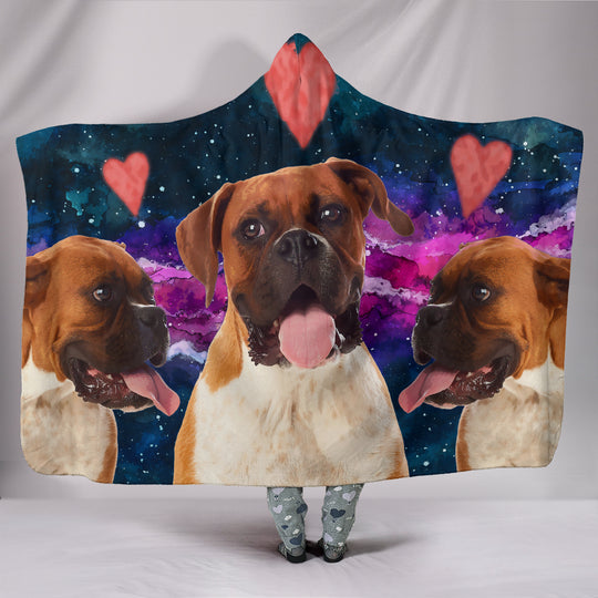 Boxer Dog Hearts Hooded Blanket