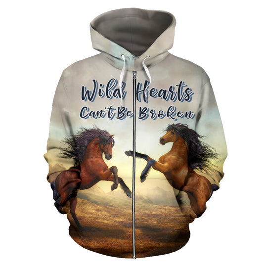 Wild Hearts Can't Be Broken All Over Print Hoodie Zip Up