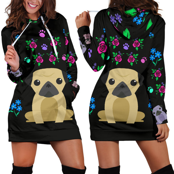 Charming Pugs Hoodie Dress with Cute Pug Dogs