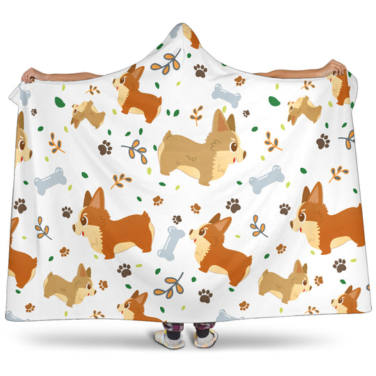 Cute Corgi Dogs Hooded Blanket for Lovers of Corgis