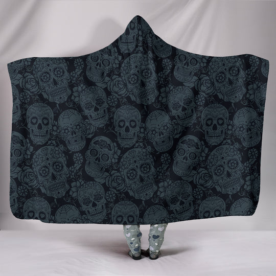 Dark Charcoal Sugar Skull Hooded Blanket