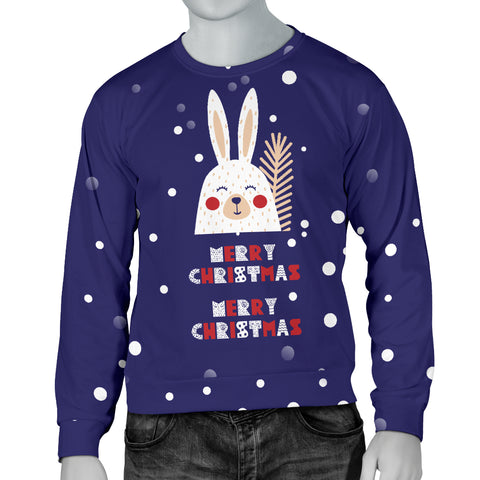 Merry Christmas Bunny Men's Sweater