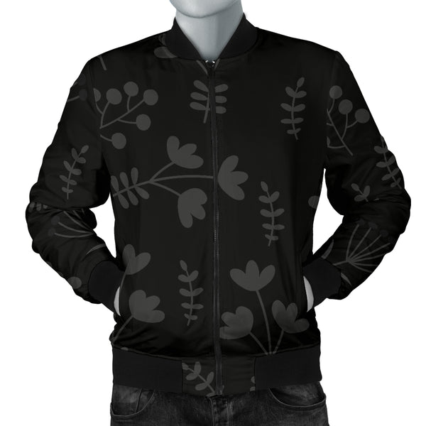 Charcoal Floral Men's Bomber Jacket