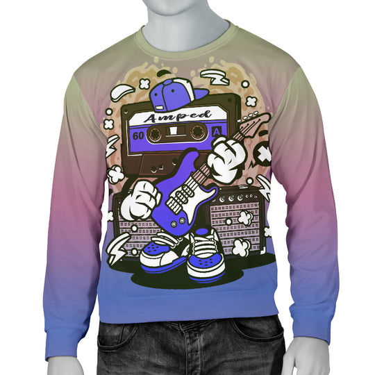 Amped Guitar Men's Sweater for Musicians and Music Freaks