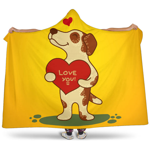 Love You Jack Russell Terrier Hooded Blanket for Lovers of Jack Russells