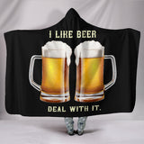 I Like Beer Deal With It Hooded Blanket