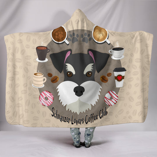 Schnauzer Lovers Coffee Club Hooded Blanket