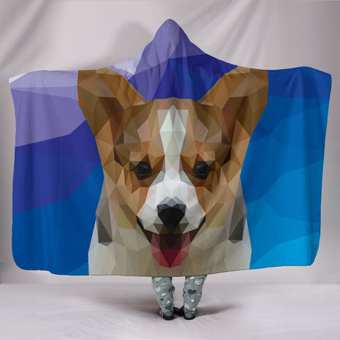 Corgi Dog Modern Art Hooded Blanket for Lovers of Corgis