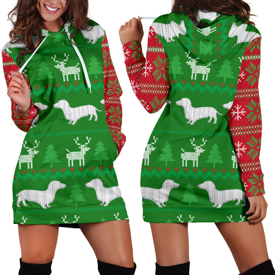 Ugly Christmas Sweater Hoodie Dress With Dachshunds