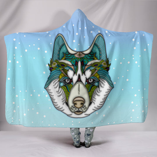 Friendly Husky Hooded Blanket for Lovers of Huskies