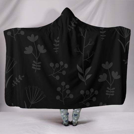 Charcoal Floral Hooded Blanket
