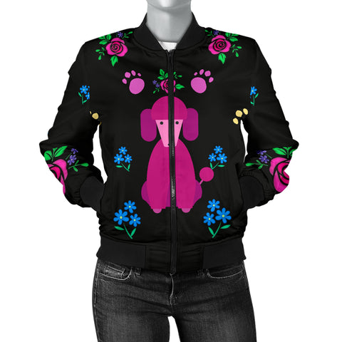 Faithful Pink Poodle Dog Women's Bomber Jacket Cute Poodles Dogs