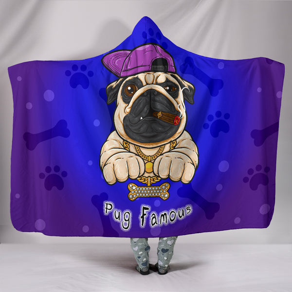 Pug Famous Hooded Blanket for Lovers of Pugs