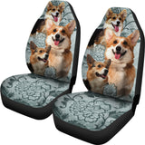 Pembroke Welsh Corgi Dog Car Seat Covers Set with Corgis