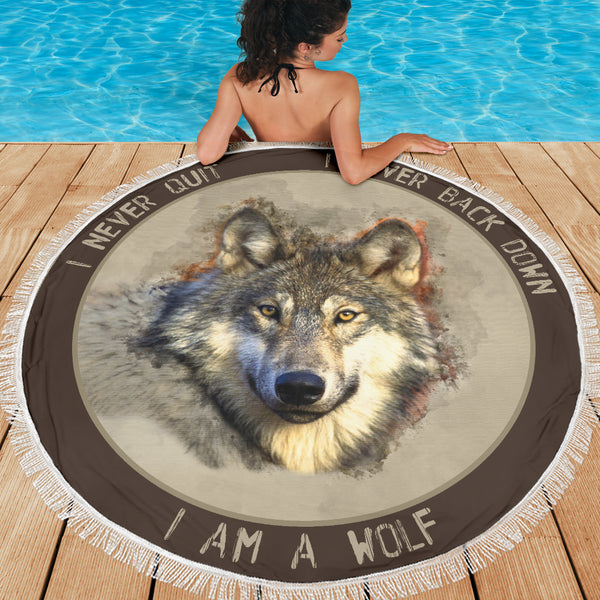I Am A Wolf Beach Blanket