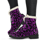 Purple and Black Are Back Faux Fur Vegan Leather Boots in sizes for Men & Women