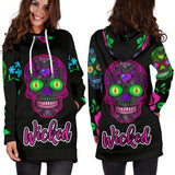 Wicked Skulls Hoodie Dress with Roses and Sugar Skull Art