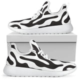 Black and White Animal Pattern Mesh Knit Sneakers in Sizes for Men & Women