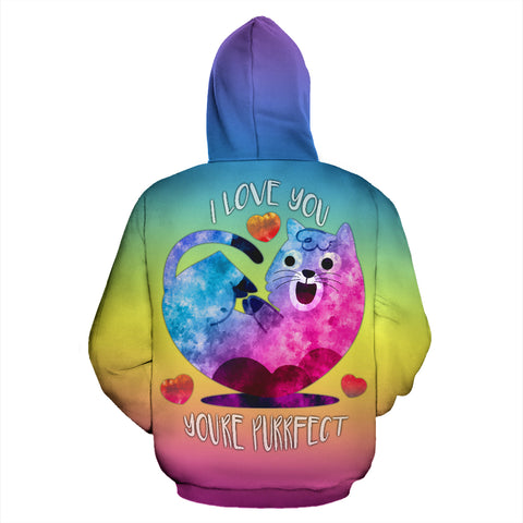 I Love You You're Purrfect All Over Print Hoodie for Cat Lovers in Men's Women's Youth Sizes