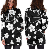 Neutral Floral Black White and Gray Hoodie Dress