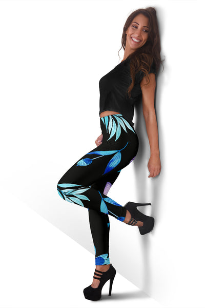 Leaves Black As Night Blue Leggings