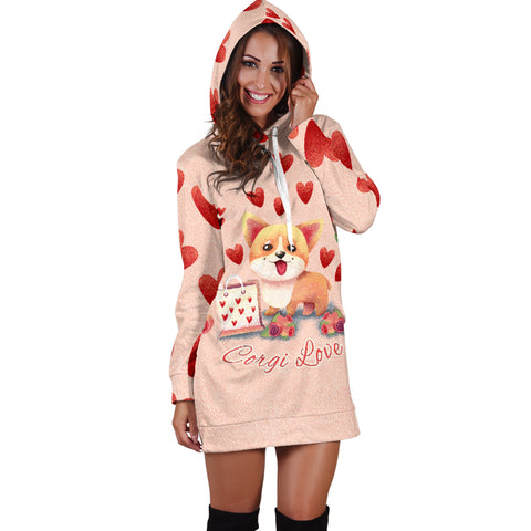 Corgi Love Hoodie Dress for Lovers of Corgis