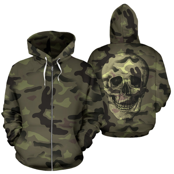 Camo Skull All Over Print Zip Up Hoodie for Lovers of Skulls and Camouflage