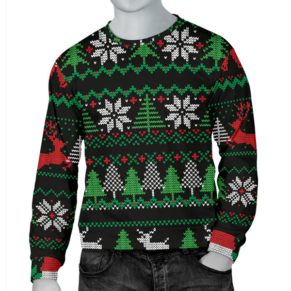 Ugly Christmas Red Green Black Men's Sweater