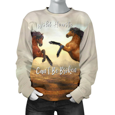 Wild Hearts Can't Be Broken Women's Sweater Horses for Horse Lovers