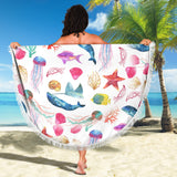 Watercolor Ocean Beach Blanket with Whales Fish Starfish and Jellyfish