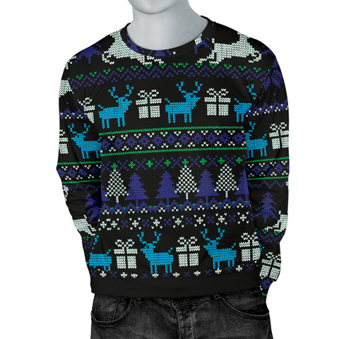 Ugly Christmas Black Purple and Blue Men's Sweater