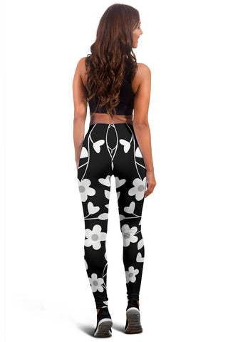 Neutral Floral Black White and Gray Leggings