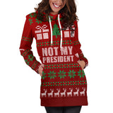Ugly Christmas Sweater Hoodie Dress - Not My President