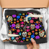 Sugar Skull Party Faux Fur Vegan Leather Boots for Lovers of Skulls