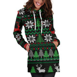 Ugly Christmas Red Green Black Hoodie Dress