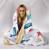 Watercolor Ocean Hooded Blanket with Whales and Fish