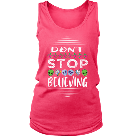 Don't Stop Believing in Aliens Unicorns Skulls District Women's Tank