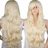 Long Wavy Blonde Wig Synthetic Hair
