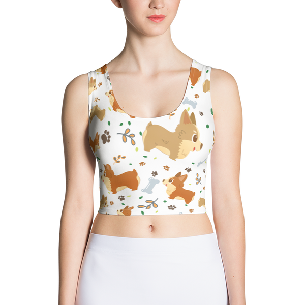 Cute Corgi Dogs Crop Top For Lovers of Corgis