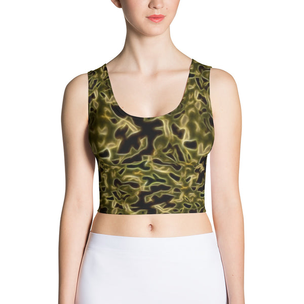 Fractal Camo Crop Top Green for Camouflage Lovers