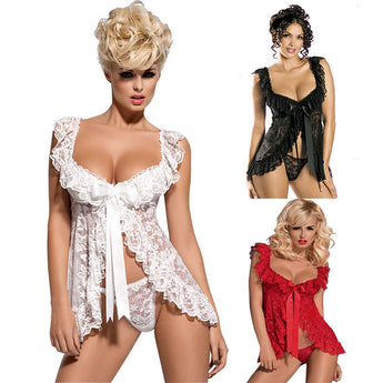 Sexy Babydoll Open Front Nightgown Set