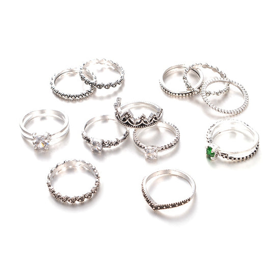 Boho Crystal Carved Fashion Rings Set of 12