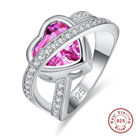 Sterling Silver Pink Topaz Heart Ring