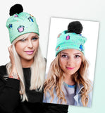 Pom Pom 3D Print Beanie Hats - 17 Different Styles