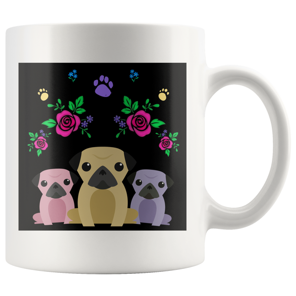 Charming Pugs Mug with Cute Pug Dogs