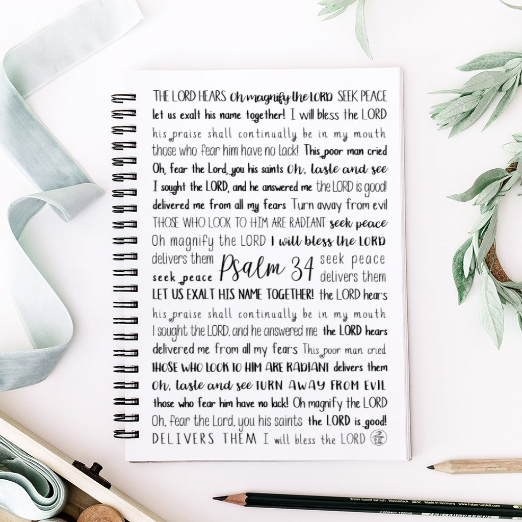 Psalm 34 Spiral Notebook