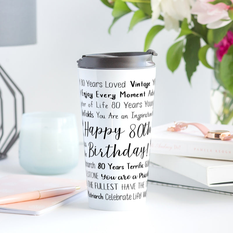 80th Birthday Travel Mug